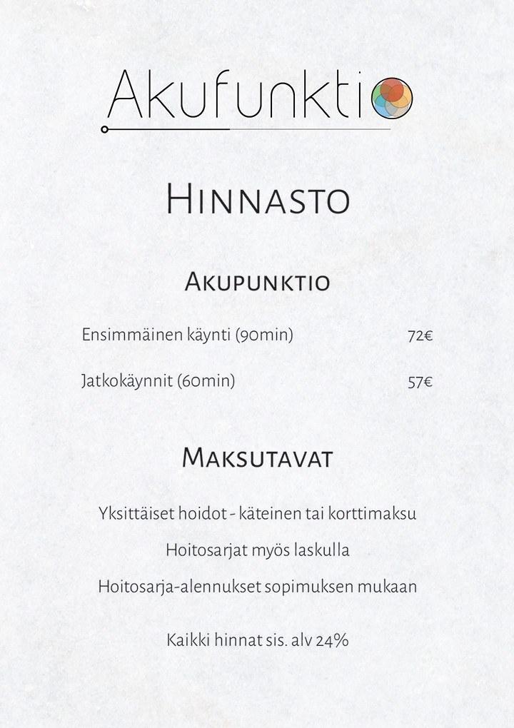 Hinnasto Akupunktio Helsinki